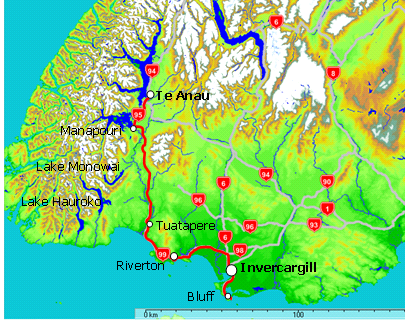 Map of Te Anau to Invercargill & Bluff via Riverton