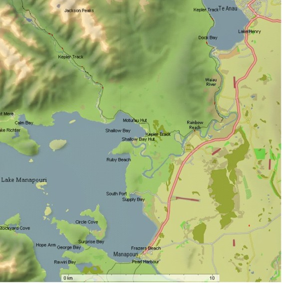 Manapouri - Te Anau area map